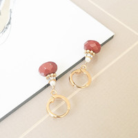 Red Jasper and Pearl Earrings, Gold Pearl Earrings, Gold Jasper Earrings, Bohemian Jewelry