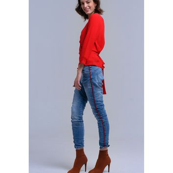 Boyfriend jeans with red bands
