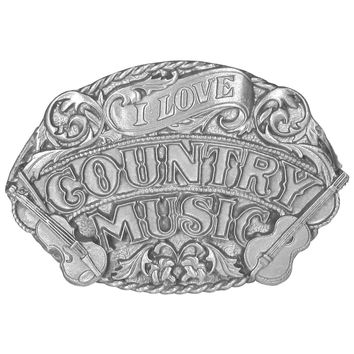 Sports Accessories - I Love Country Music Antiqued Belt Buckle
