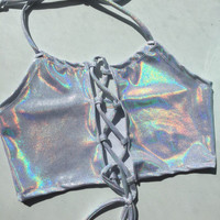 Lace Me Up Dreamscape Hologram Halter Top - holographic halter ravewear crop top lace up top