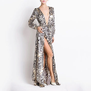 KIMMY Tiger Print Silk Kaftan Dress