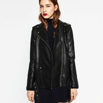 LONG LEATHER-EFFECT JACKET Look+: 1 of 4