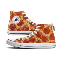 Pizza Converse High Top Custom Chucks
