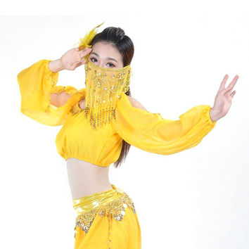 Belly Dance Costume Handmade Gold Coins Padded Top Bra Lantern Long Sleeve Shirt New Arrival