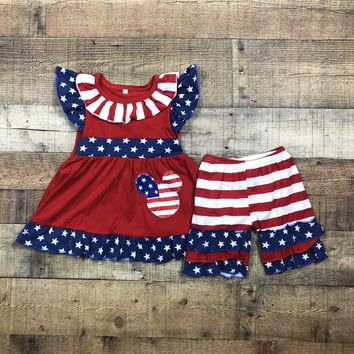 USA Independence Day Mouse 2pc Ruffle Short Outfit RTS