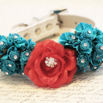 Blue Red Wedding Dog Collar, Red and Blue wedding, Floral wedding