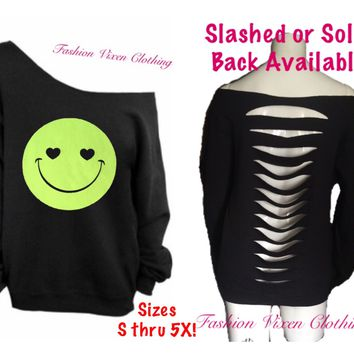 Yellow Glitter Smiley Face Off the Shoulder Black Sweatshirt (slashed or solid back available)  XS S M L XL Plus Size 1x 2x 3x 4x 5x