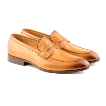 Carlo - Penny Loafer Shoe In Tan Calf Leather
