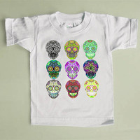 9 Skulls Tshirt Multicolored sugar skull Day of the Dead Kids Tee Shirt. Punk childrens Top. 2, 3, 4, 5, 6, 7 S, M, L Spring Girl Boy Tshirt