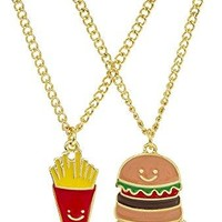 "Goldtone Burger and Fries ""Best Friends"" Necklaces ⎮ ThatSweetGift"