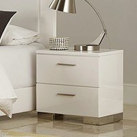 Linnea Night Stand In White High Gloss Finish