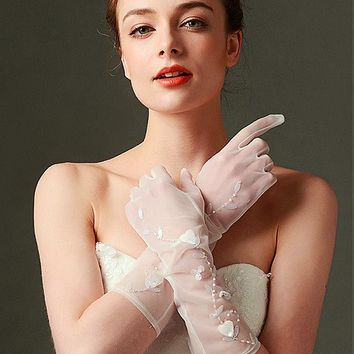 [10.99] In Stock Chic Jersey Ivory Wedding Gloves With Beading - dressilyme.com