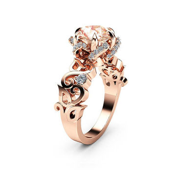 Twisted Halo Morganite Engagement Ring 14K Rose Gold Petal Ring Modern Engagement Ring