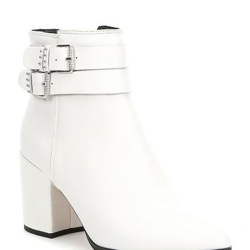 Steven by Steve Madden Pearle Leather Block Heel Booties | Dillard's