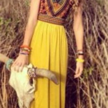 Bohemian Sleeveless Maxi Dress