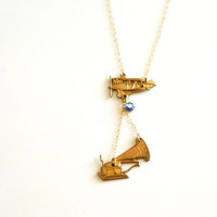 In the Aeroplane Over the Sea - Neutral Milk Hotel Aeroplane and Flying Victrola Necklace with Vintage Sapphire Swarovski Crystal