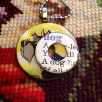 Lady and the Tramp Jock Dog Altered Art Washer Necklace