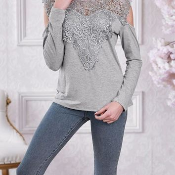 New Grey Patchwork Lace Cut Out Round Neck Long Sleeve Casual T-Shirt