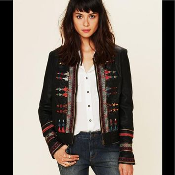 Free People Native Embroidered Vegan Leather