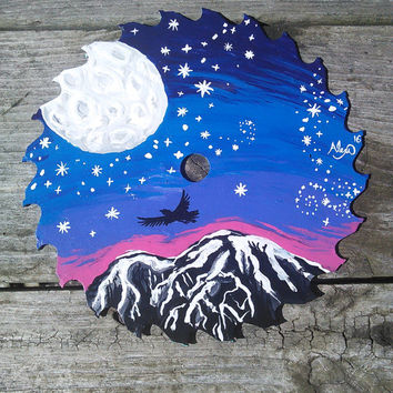Painted saw Blade,Full Moon Painting,Raven Crow Bird Art,Mountain Sunset art,Moon and Stars, Wiccan Artwork, Pagan Art, Rustic Cabin Artwork