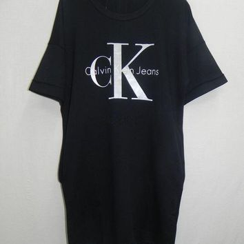 DCCKBA7 Calvin Klein' Women White/Black Leisure Loose T-shirt Dress