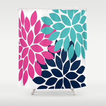 Pink Turquoise Navy Shower Curtain CUSTOM You Choose Colors Flower Petal Burst Dahlia Pattern Bathroom Bath Polyester Made in the USA