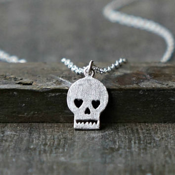 Sugar Skull Necklace / Silver Skull Necklace on Sterling Silver Chain ... day of the dead jewelry tiny dainty delicate
