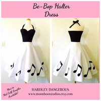 The Be-Bop Dress, Custom Colors Available, Rockabilly Wedding, VLV Pin Up Bridesmaid Rock n Roll Music Notes Special Occasion Party Dress