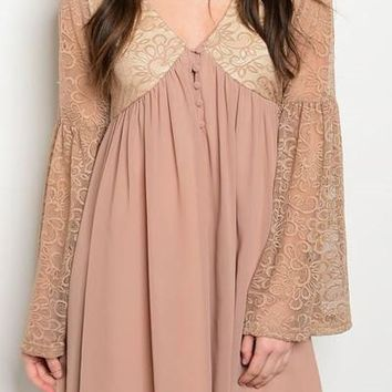 LONG LACE BELL SLEEVE CHIFFON DRESS