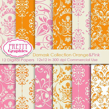 DAMASK PAPERS - Orange&Pink - Printable Papers - Commercial Use - 12x12 JPG Files - Scrapbook Papers - High Quality 300 dpi