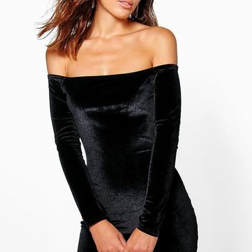 Lilou Velvet Off Shoulder Bodycon Dress | Boohoo