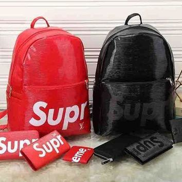 ESBUP0 LV x Supreme Leather Backpack Travel Bag Purse Wallet Card Bag Set Four-Piece