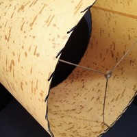 Vintage Fiberglass Laced Lamp shade, Mid Century drum shade, birch bark look.