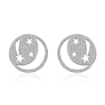 YAN & LEI Sterling Silver Moon and Shooting Stars Stud Earrings