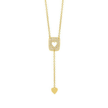 0.13ct 14k Yellow Gold Diamond Heart Lariat Necklace