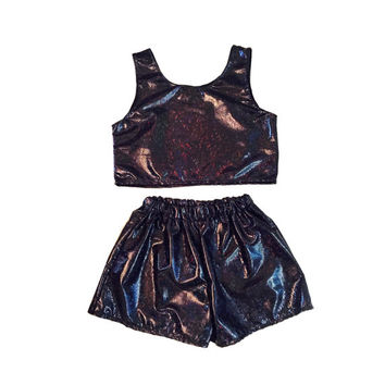 Black Holographic Top and Shorts Two Piece Co-Ord Black Hologram Festival Holiday Summer Womens Clothing Fashion