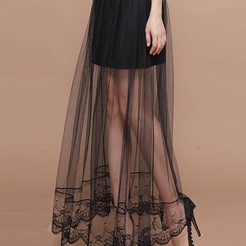 Black Panel Sheer Mesh Pleat Maxi Skirt with Lace Embroidery Hem