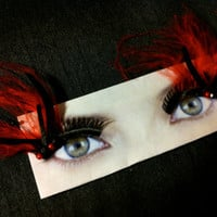 Smoking Hot Red and Black Feather False Eyelashes by CatsMeow1940