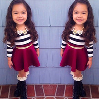 Kids girl baby suits long sleeve striped t-shirt top + skirt dress clothes sets A_L = 1655757188