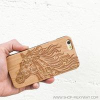 "Genuine Wood Case Snap On Cover - ""The Majestic Horse"""
