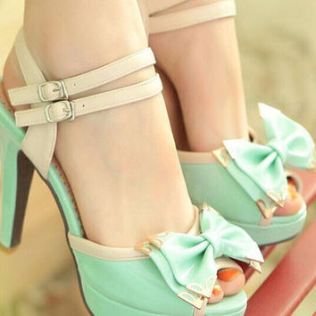 Fashion bowknot Solid color heels sandals