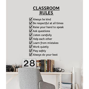 Vinyl Wall Decal Classroom Rules Words Study Room School Stickers Mural (g2693)