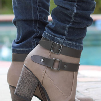 Buckle Up Booties Taupe
