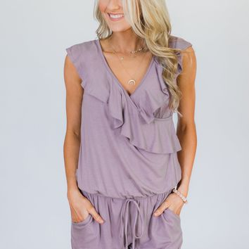 Dusty Purple Ruffle Romper