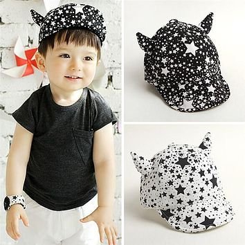 BS#S Spring Summer Horn Hats Demon Baseball Cap Baby Boy Beret Baby Girls Sun Hat