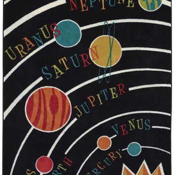Aurora Planets Solar System Colorful Printed Kids Area Rug, 5'x8', Black