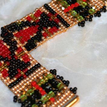 NEW BEADED BRACELET, one of a kind, red Czech,swarkovski, black onyx, peridot beads, gold beads, hand loomed, silk thread, gold filled clasp