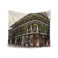 """Sylvia Cook """"New Orleans Street Corner"""" Green Brown Wall Tapestry"""