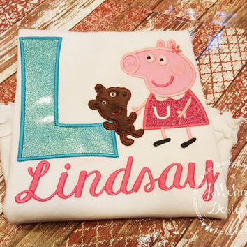 Peppa Pig with Bear Birthday Custom Tee Shirt - Customizable -  Infant to Youth