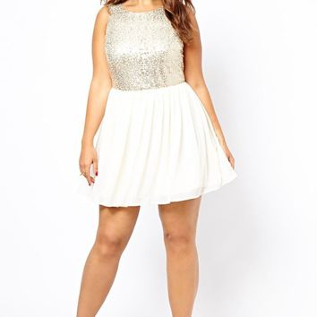 White Patchwork Sequin Pleated Backless Plus Size For Juniors Homcoming Party Mini Dress